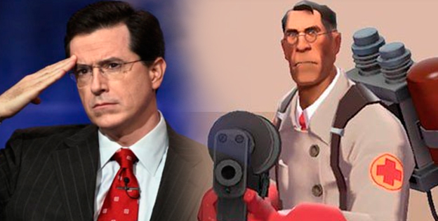 Team Fortress 2 Medic and Stephen Colbert